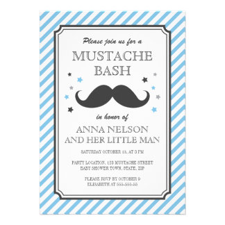 Retro blue stripes little man moustache baby showe invite