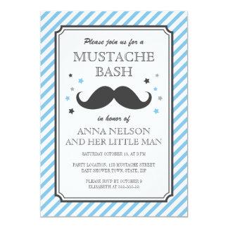 Retro blue stripes little man mustache baby shower 13 cm x 18 cm invitation card