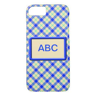 Retro blue Tan Tartan iPhone 8/7 Case