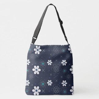 Retro blue white flower pretty travel  tote bag