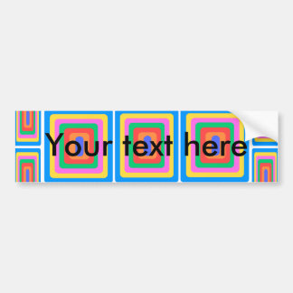 Retro blue yellow and green squares car bumper sticker