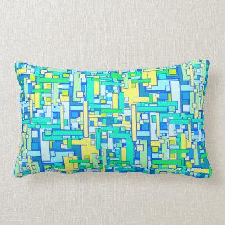 Retro Blue Yellow Square Pillow Lumbar