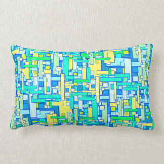 Retro Blue Yellow Square Pillow Lumbar