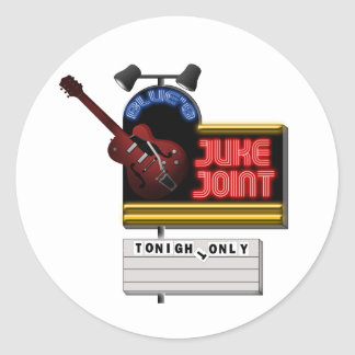 Retro Blues Juke Joint Classic Round Sticker