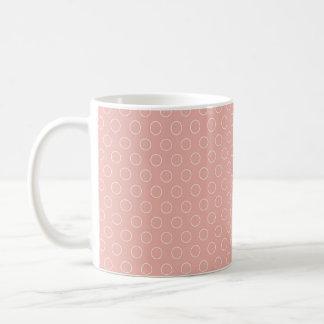 Retro Blush Pink Circles Pattern Mugs