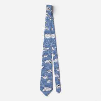 retro boats on blue ocean tie double sided print