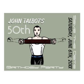 Retro Bodybuilding 50th Birthday Save the Date Postcard