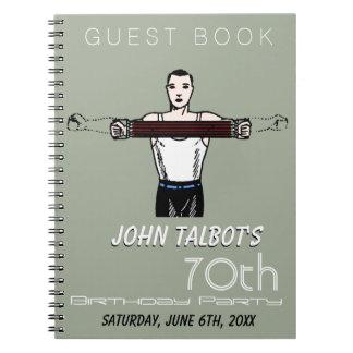 Retro Bodybuilding 70th Birthday Party Guest Book Spiral Notebook