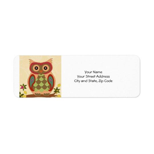 Retro Bohemian Owl Return Address Label