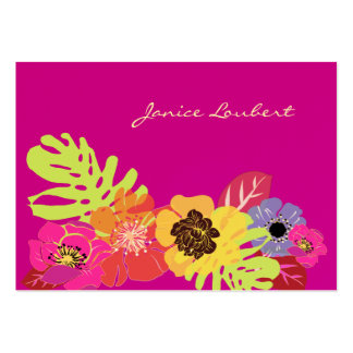 Retro bold tropical flowers calling card pack of chubby business cards