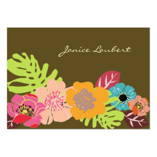 Retro bold tropical flowers, DIY background color! Business Card Template