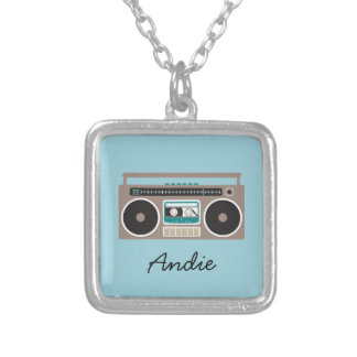 Retro Boombox Cassette Player Silver Plated Necklace