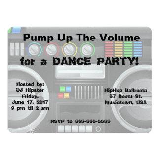 """retro boombox dance party customize 6.5"""" x 8.75"""" invitation card"""