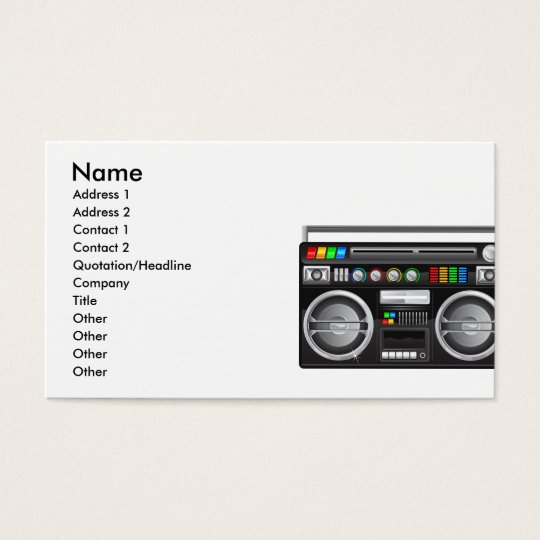 retro boombox ghetto blaster graphic business card