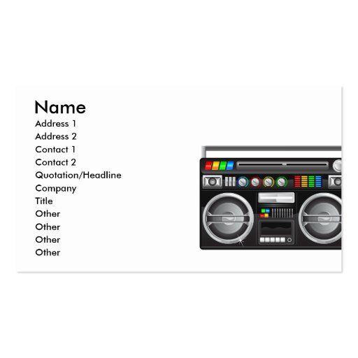 retro boombox ghetto blaster graphic pack of standard business cards