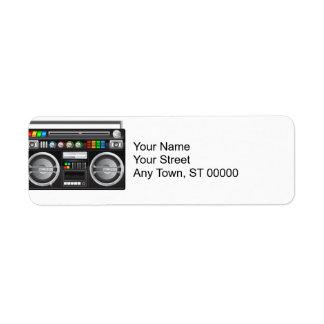 retro boombox ghetto blaster graphic return address label