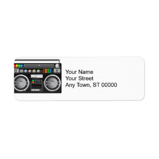 retro boombox ghetto blaster graphic return address label