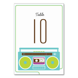 Retro Boombox Indie Mixtape Wedding Blue / Lime Table Card
