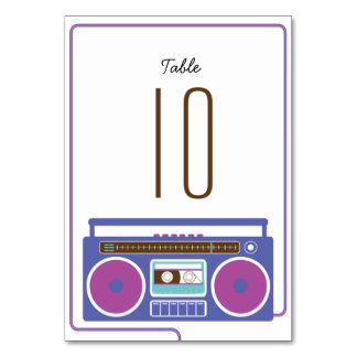 Retro Boombox Indie Mixtape Wedding Purple / Blue Table Card