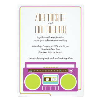 Retro Boombox Indie Mixtape Wedding (Purple/Lime) 13 Cm X 18 Cm Invitation Card