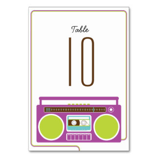 Retro Boombox Indie Mixtape Wedding (Purple/Lime) Table Card