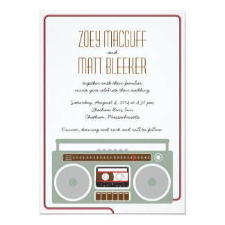 Retro Boombox Indie Mixtape Wedding Red / Black 13 Cm X 18 Cm Invitation Card