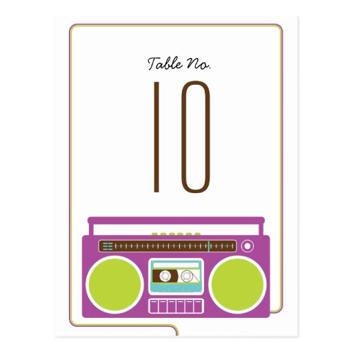 Retro Boombox Indie Wedding (Purple / Lime) Table  Post Cards