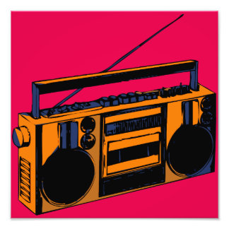 Retro Boombox Photo Enlargment Pop-Art Poster