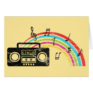 Retro boombox with music and rainbow greeting card