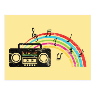 Retro boombox with music and rainbow postcard