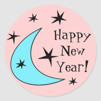 "Retro Boomerang Stars ""Happy New Year!"" Classic Round Sticker"