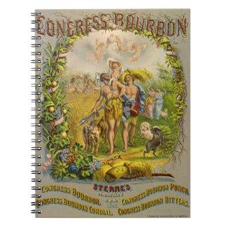 Retro Bourbon Label 1864 Notebook