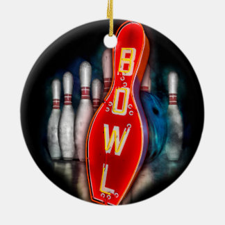 Retro Bowl with bowling pins and ball Ceramic Ornament