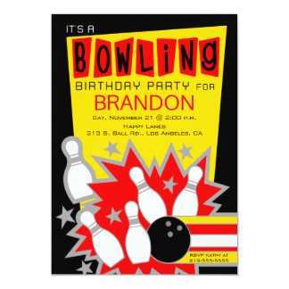Retro Bowling Birthday Party Invitation