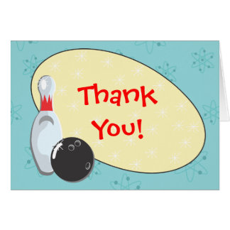 Retro Bowling Birthday Party Thank You Notes