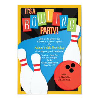Retro Bowling Kid's Birthday Party Invitation