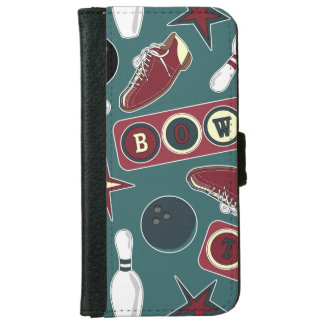 Retro Bowling Pattern iPhone 6 Wallet Case