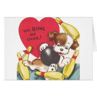 Retro Bowling Puppy Valentine's Day Card