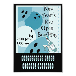 Retro Bowling Themed Party Invitations Jukebox-Key
