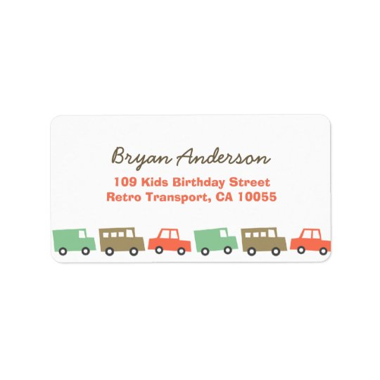 Retro Boy's Toys Fun Transport Birthday Address La Address Label