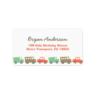 Retro Boys Toys Fun Transport Birthday Address La Label