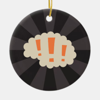 Retro brain with exclamation marks ceramic ornament