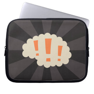 Retro brain with exclamation marks laptop sleeve