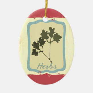 Retro breakfast food icon herbs Christmas ornament