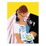 Retro Bride and Groom Romance! Save the Date! Postcard