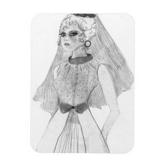 Retro Bride Rectangular Photo Magnet