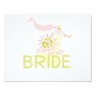 "Retro Bride Tshirts and Gifts 4.25"" X 5.5"" Invitation Card"