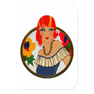 Retro Bridge Tally Redhead Card