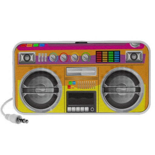 retro bright colours boom box ghetto blaster mp3 speakers
