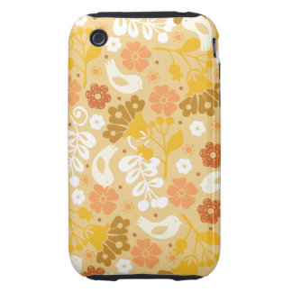 Retro Bright Yellow Flowers and Birds Case Tough iPhone 3 Covers